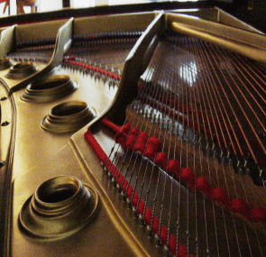 The inner workings of a piano
